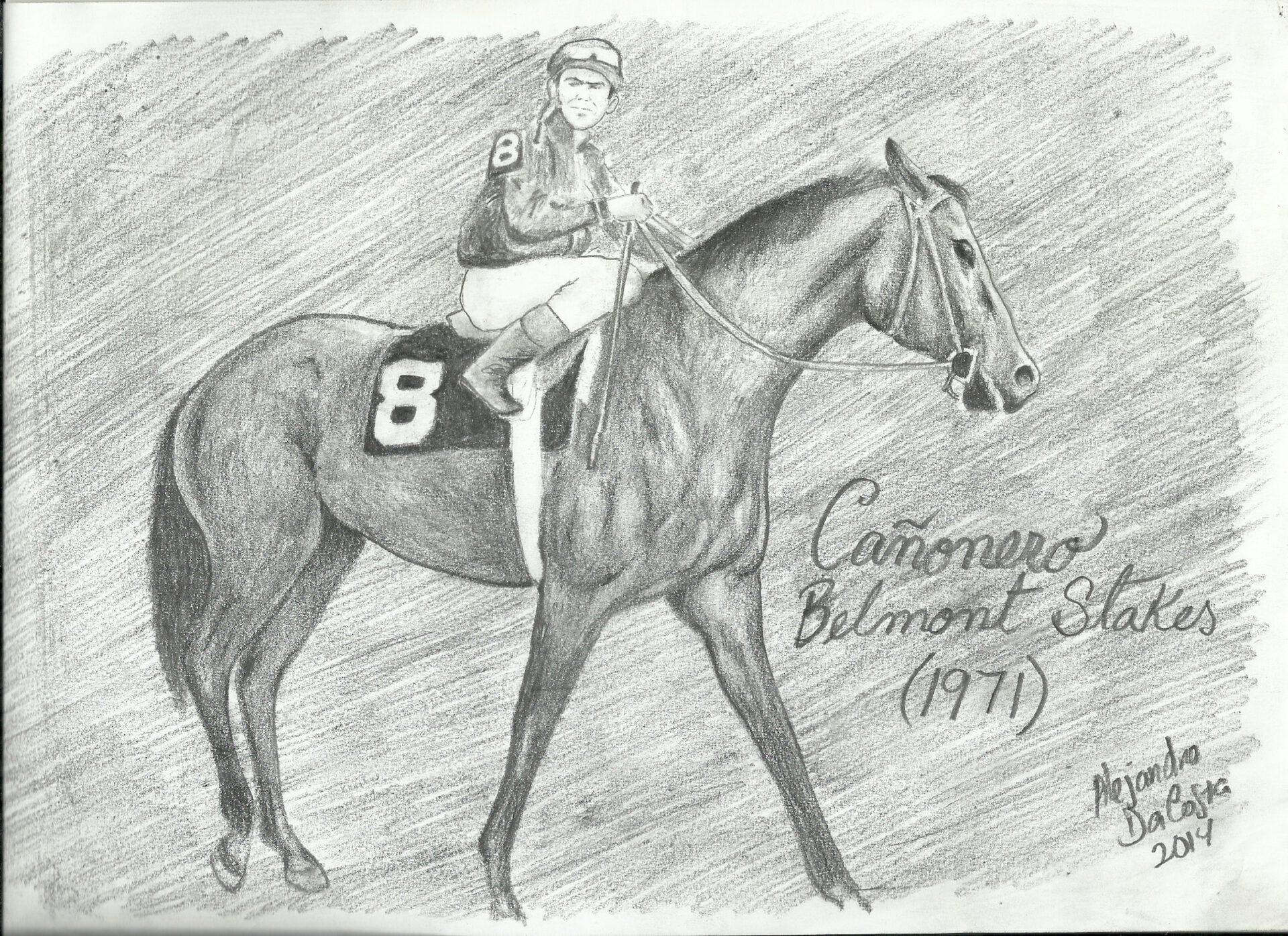 Cañonero, Horse, dibujo que ilustra al caballo al momento de salir a correr el Belmont Stakes de 1971, en Belmont Park. Obra del artista: Alejandro Da Costa
