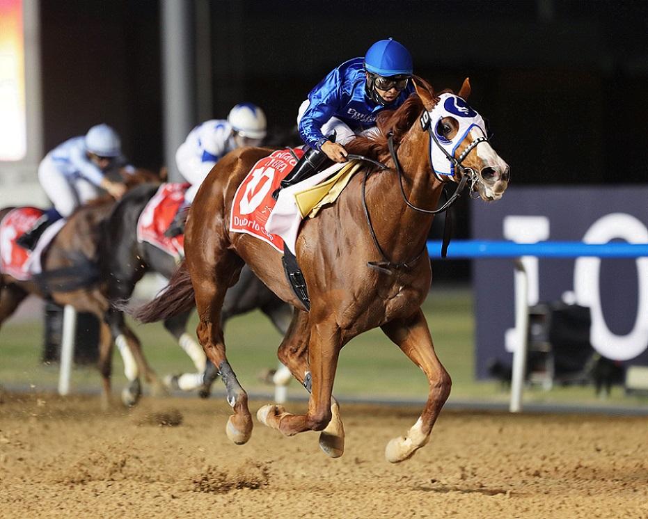 Mystic Guide, horse, Godolphin Farm, Dubai World Cup, Meydan Racecourse, sábado, 27 de marzo de 2021. Foto: Coady Photo (Copyright)